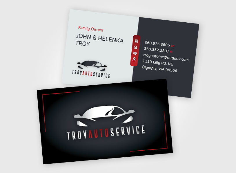 Troy Auto Service – Logo & Business Card Design