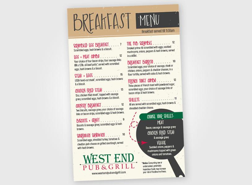West End – Breakfast Menu